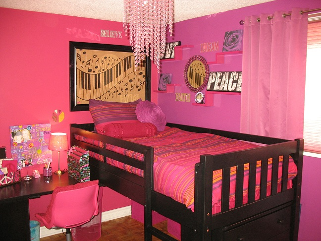 Kids bedroom decor pink music theme